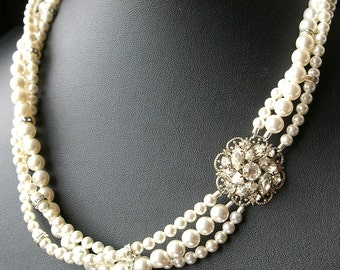 Statement Bridal Necklace, Twisted Pearl Wedding Necklace, Vintage Bridal Jewelry, Art Deco Wedding Necklace, Pearl Wedding Jewelry, CELINE
