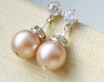 Champagne Pearl Bridal Earrings, Champagne Pearl Drop Wedding Earrings, STERLING SILVER Earrings, Modern Vintage Bridesmaids Jewelry,CLASSIC