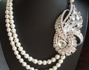 Art Deco Wedding Necklace, Statement Bridal Necklace, Pearl Bridal Jewelry, Vintage Style Wedding Necklace, BRIDGETTE