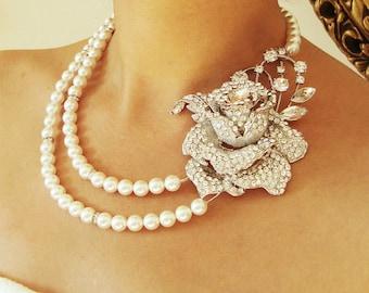 Statement Bridal Necklace, Crystal Rose Bridal Jewelry, Pearl Wedding Necklace, Vintage Wedding Jewelry, Art Deco Wedding Jewelry, ROSEMARIE