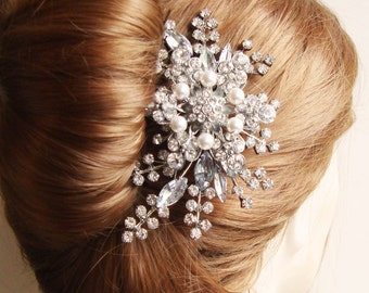 Rhinestone Hair Comb, Bridal Hair Comb, French Twist Comb, Wedding Hair Accessories, Tiara Bridal Comb, STARGAZER II