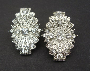 Art Deco Style Bridal Wedding Earrings, Vintage Style Rhinestone Bridal Stud Earrings, Antique Silver Bridal Earrings, Wedding Jewelry, RITA