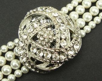 Ivory White Pearl Bridal Bracelet Cuff, Vintage Style Bridal Wedding Bracelet, Art Deco Wedding Bridal Jewelry, Rhinestone Bracelet, LOIS