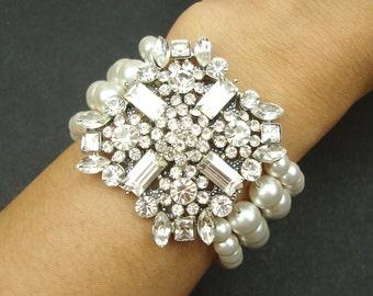 Vintage Style Bridal Cuff Bracelet, Pearl Bridal Bracelet, Art Deco Style Bridal Wedding Jewelry, Crystal & Pearl Cuff Bracelet, Patrice