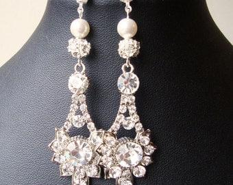 Vintage Style Wedding Earrings, Swarovski Crystal Bridal Drop Earrings, Rhinestone Dangle Crystal Stud Earrings, Bridal Jewelry, ELENA