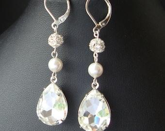 Vintage Style Rhinestone Teardrop Bridal Earrings, Statement Bridal Jewelry, Pearl & Swarovski Crystal Bridal Wedding Earrings, Diamond Glow