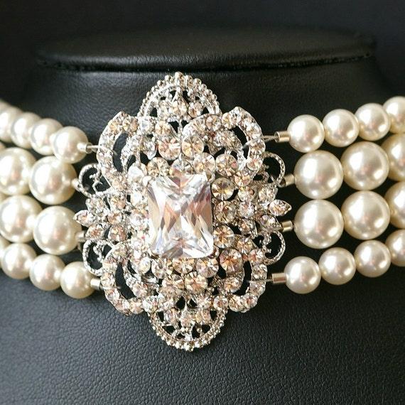 Duchess, Dramatic Rhinestone and Swarovski Pearl Cuff Bracelet