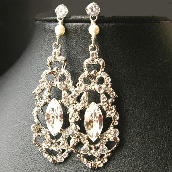 Chandelier Bridal Earrings, Vintage Wedding Earrings, STERLING SILVER Wedding Jewelry, Art Deco Bridal Jewelry, FRANCESCA