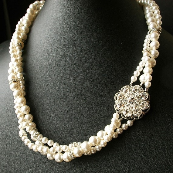 Bridal Necklace,Twisted Pearl Necklace, Statement Bridal Jewelry, Wedding Necklace, Vintage Style Necklace, Wedding Jewelry, SABINE