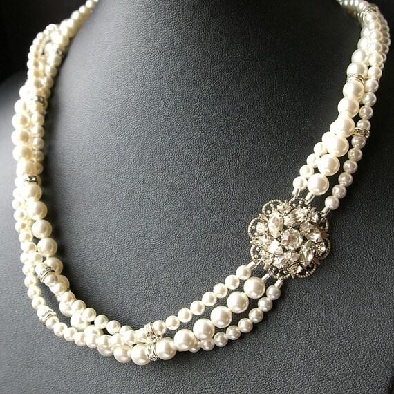 Bridal Pearl Necklace, Statement Wedding Necklace, Twisted Pearl Necklace, Vintage Bridal Jewelry, Art Deco Wedding Jewelry, CELINE