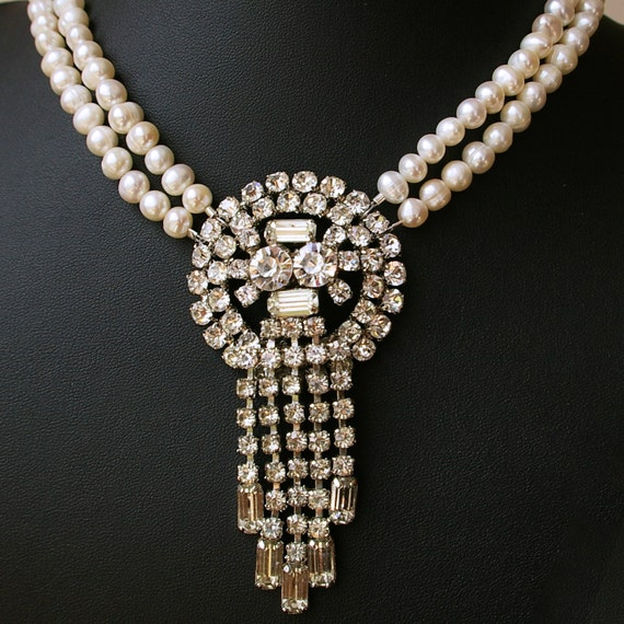 Vintage 1950's Rhinestone Bridal Necklace, Vintage Pearl Bridal Necklace, Waterfall Freshwater Pearl Necklace