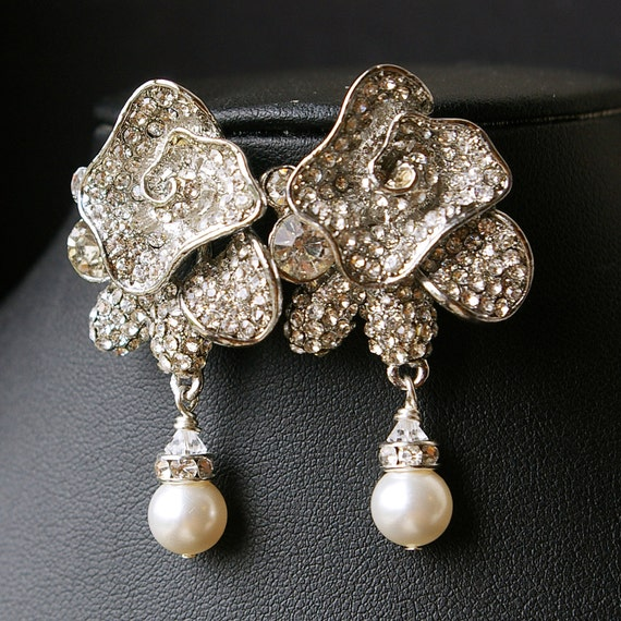 Items Similar To Statement Rose Bridal Earrings Vintage
