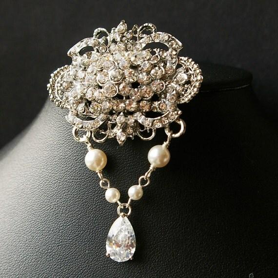 Victorian Style Bridal Brooch Pin, Vintage Style Pearl Wedding Brooch, Wedding Bridal Accessories, Pearl Brooch, Bridal Jewelry, DUCHESS