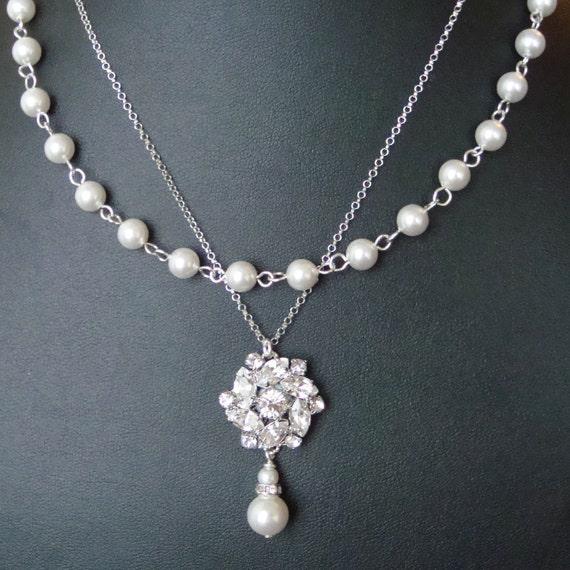 Vintage Style Bridal Necklace, Statement Wedding Jewelry, Double Strand Wedding Necklace, Rhinestone Bridal Jewelry, CELINE