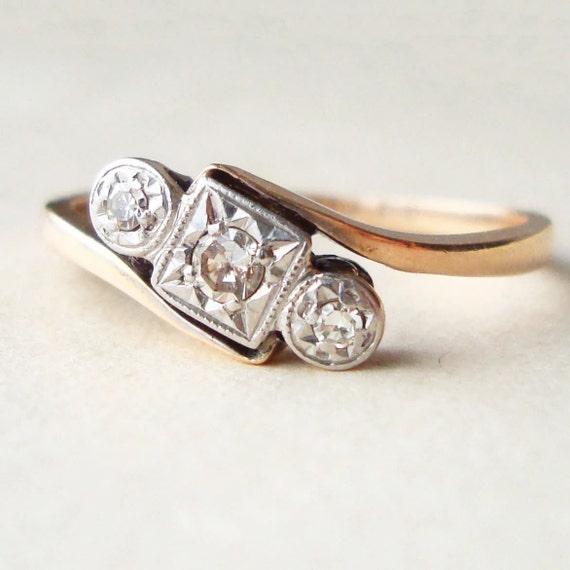 Antique Engagement Ring, Art Deco Trilogy Ring, Platinum Diamond and 9k Gold Ring Size US 8.25