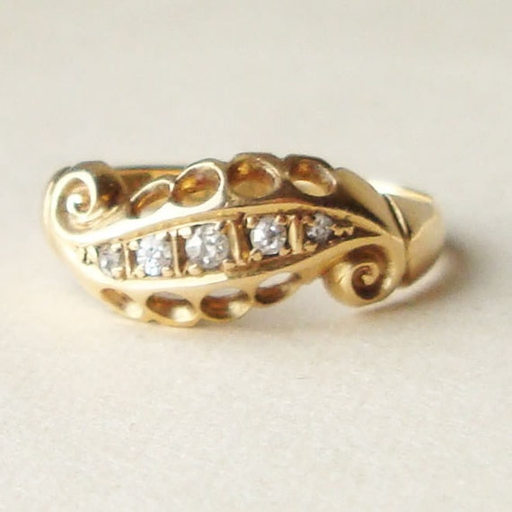 Antique Victorian Five Diamond 18k Gold Scroll Ring Approx. Size US 5.75