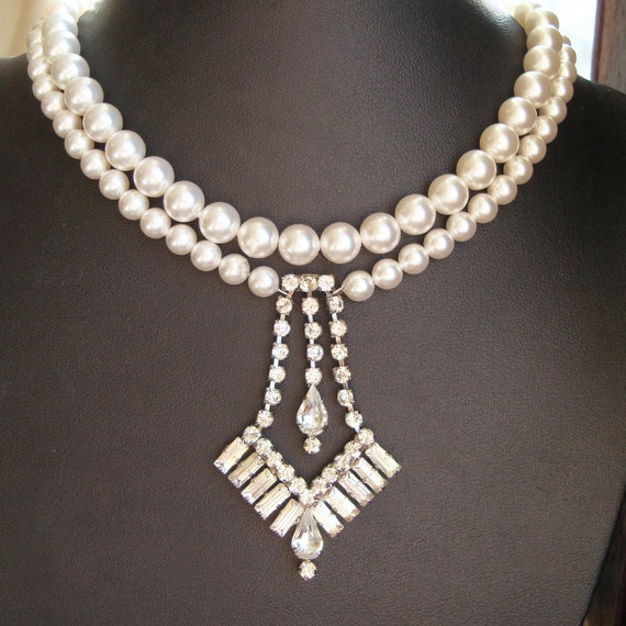 Vinage Wedding Jewelry, Vintage Rhinestone Bridal Necklace, Wedding Necklace, Ivory White Swarovski Pearl Bridal Jewelry (one of a kind)