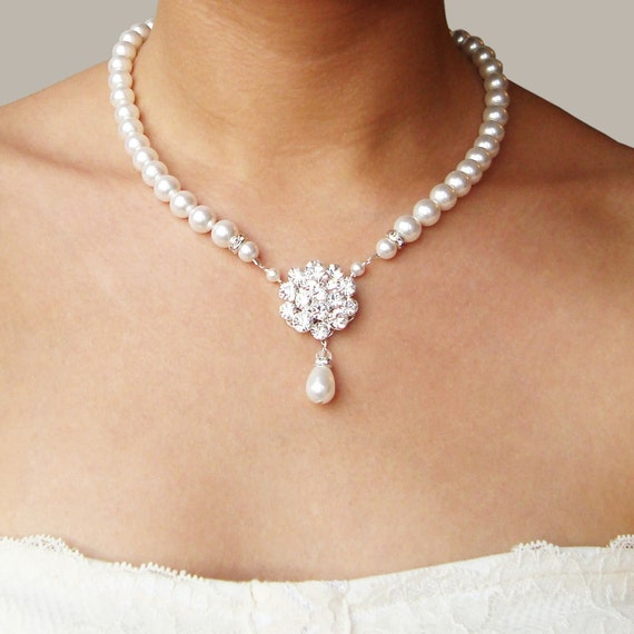 Bridal Pearl Necklace Vintage Style Wedding Necklace By