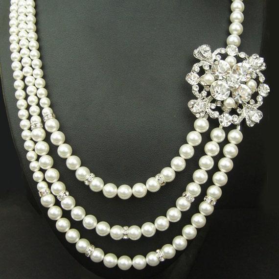 Art Deco Bridal Necklace, Pearl Wedding Jewelry, Vintage Wedding Necklace, Silver Bridal Jewelry, Statement Necklace, BIANCA
