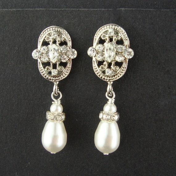 Art Deco Style Pearl & Rhinestone Earrings, Retro Vintage Style Bridal Earrings, Ivory Bridal White Teardrop Pearl Earrings