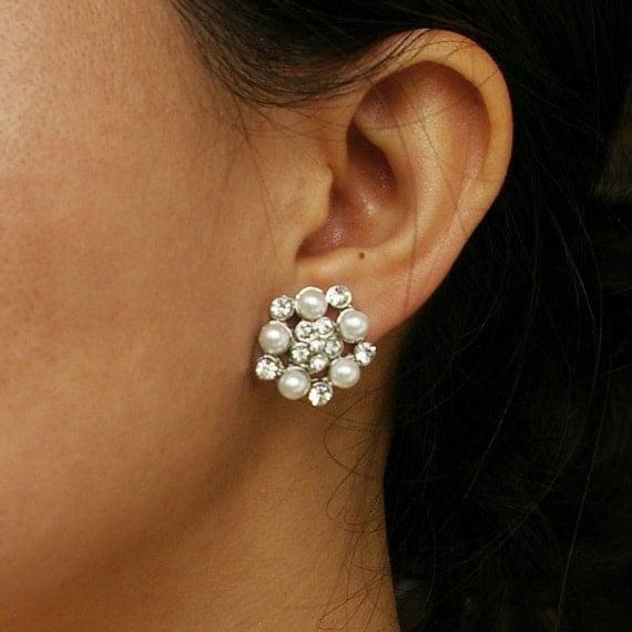 Pearl Flower Bridal Stud Earrings, Vintage Style Wedding Bridal Earrings, Retro Rhinestone Earrings, Crystal Flower Studs, ELLA