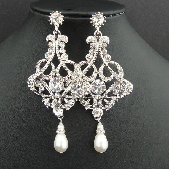 Chandelier Bridal Wedding Earrings, Pearl Drop Chandelier Bridal Earrings, Vintage Style Bridal Wedding Jewelry, ALESSANDRA