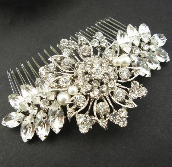 Vintage Style Bridal Hair Comb, Wedding Hair Comb, Wedding Hair Accessories, Bridal Hairpiece, Art Deco Hair Comb, ADELE