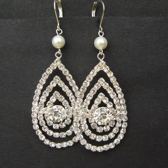 Teardrop Chandelier Wedding Earrings, Rhinestone Vintage Style Bridal Earrings, Dramatic Art Deco Teardrop Earrings