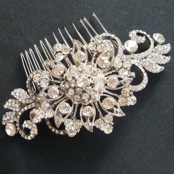 Vintage Bridal Hair Comb, Statement Wedding Headpiece, Bridal Wedding Hair Accessories, French Twist Wedding Comb, ADELE