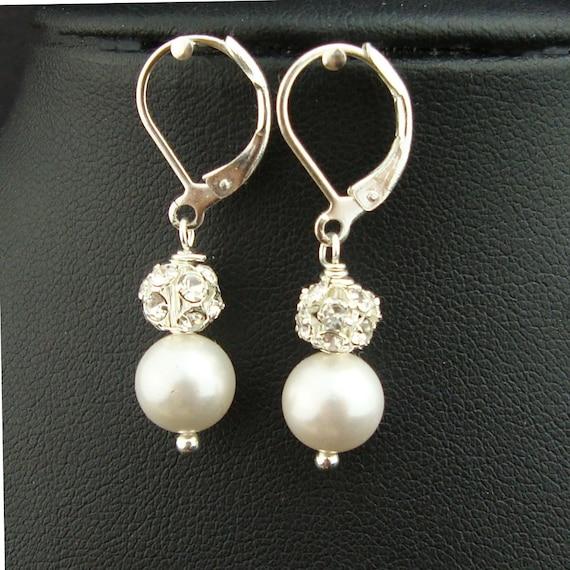 Ivory White Swarovski Pearl & Crystal Wedding Bridal Earrings, Rhinestone Bridal Wedding Earrings, Pearl Drop Bridesmaids Earrings, EMILY