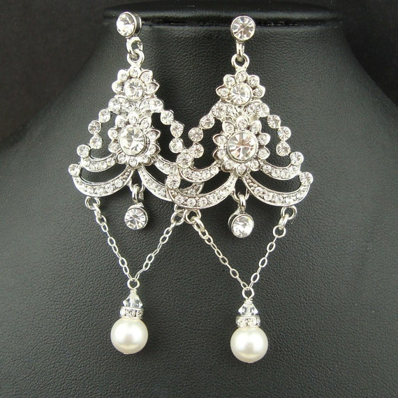 Art Deco Style Chandelier Bridal Earrings, Rhinestone Wedding Jewelry, Pearl Drop Vintage Style Bridal Earrings, Art Deco Earrings, AINSLIE