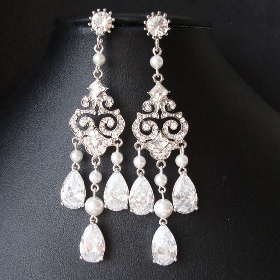 Chandelier Bridal Earrings, Vintage Wedding Earrings, Statement Chandelier Earrings, Great Gatsby Wedding Jewelry, CZ Bridal Jewelry, HELENA