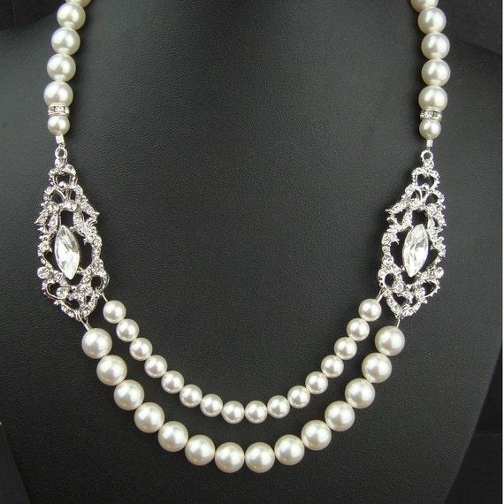 Indiangoldesigns Com Beautiful Antique Bridal Necklace: Art Deco Bridal Necklace Wedding Jewelry Vintage Bridal