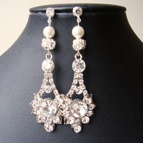 Vintage Style Wedding Earrings, Swarovski Crystal Bridal Drop Earrings, Rhinestone Dangle Crystal Stud Earrings, Bridal Jewelry, ELENA