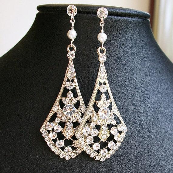 Vintage Style Rhinestone Chandelier Bridal Earrings, Long Crystal Wedding Earrings, Long Chandelier Earrings, ANYA