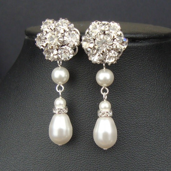 Ivory White Pearl Bridal Earrings, Rhinestone Flower Wedding Earrings, Vintage Style Wedding Jewelry, Dangly Pearl Bridal Earrings, EMMA