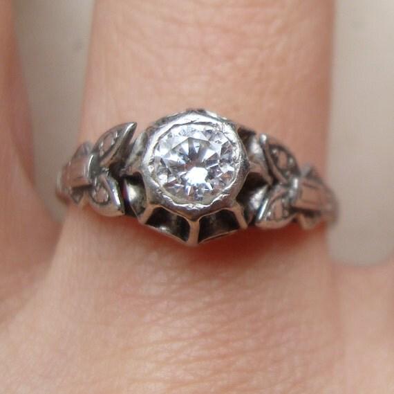Antique Diamond .38 Carat Solitaire Diamond Ring, Art Deco Diamond Wedding Ring, 18k White Gold Engagement Ring Size US 7.25