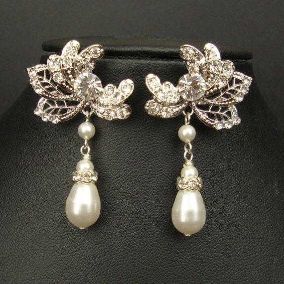 Vintage Style Rhinestone Bridal Earrings, Ivory White Teardrpop Pearl Earrings, Crystal Flower Chandelier Drop Earrings, ERIN