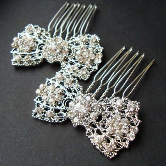 Vintage Bridal Hair Combs, Art Deco Bow Hair Combs, Old Hollywood Rhinestone Combs, Wedding Hair Accessories, SET of TWO , BETSY