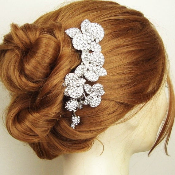 Vintage Bridal Hair Comb, Crystal Orchids Wedding Hair Comb, Bridal Hair Accessories, Wedding Headpiece, ORCHID BLOOM