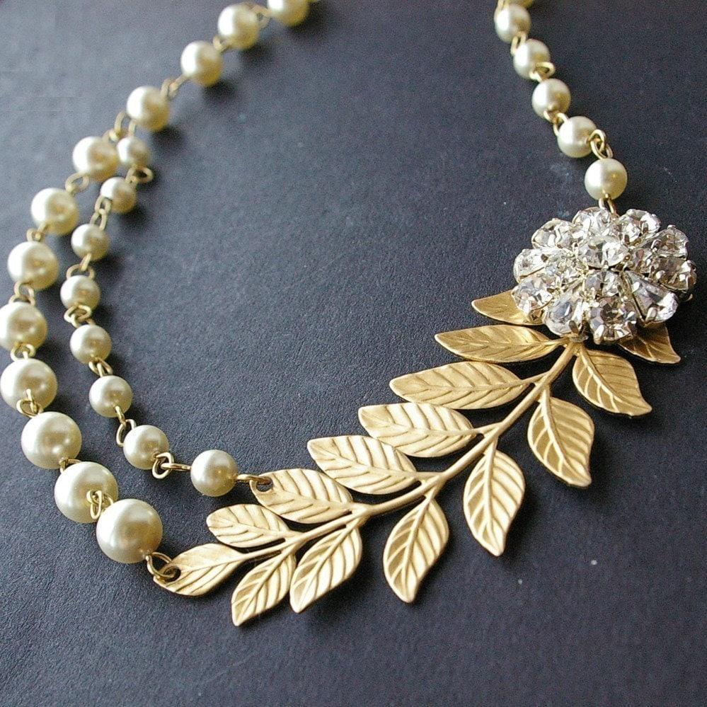 Gold Bridal Necklace Gold Leaves Wedding Necklace Vintage