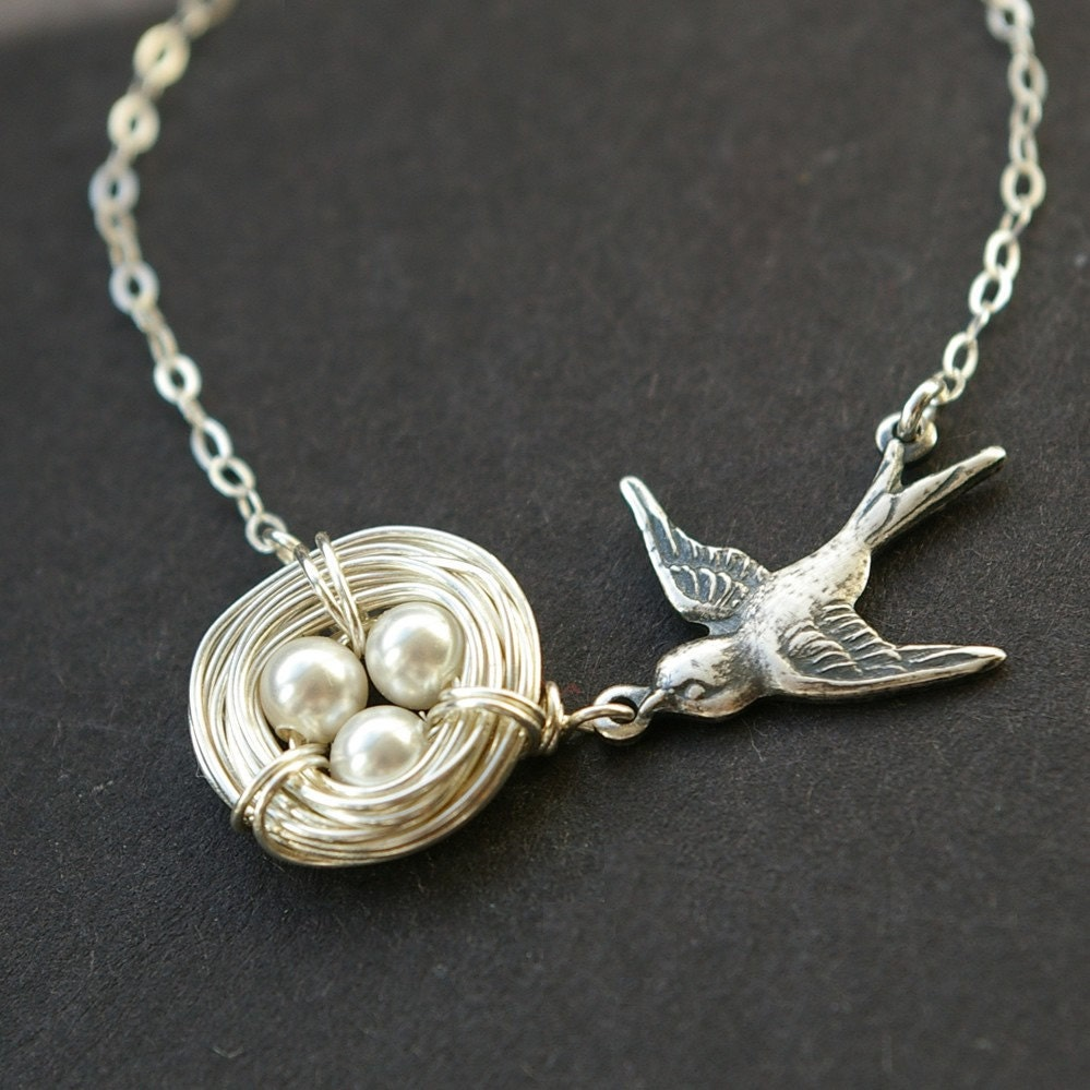 birds nest necklace sterling silver birds nest by luxedeluxe