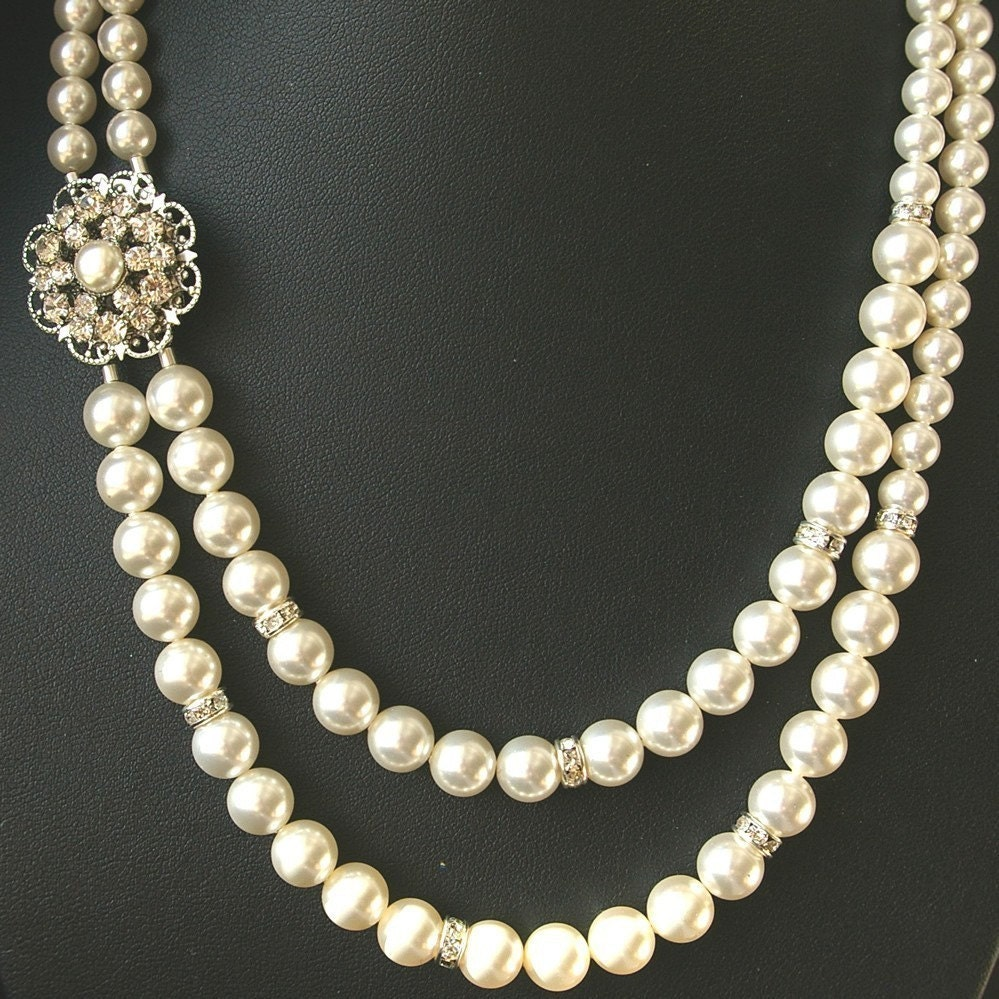 Vintage Pearl Choker Necklace: Pearl Bridal Necklace Vintage Wedding Jewelry Art By