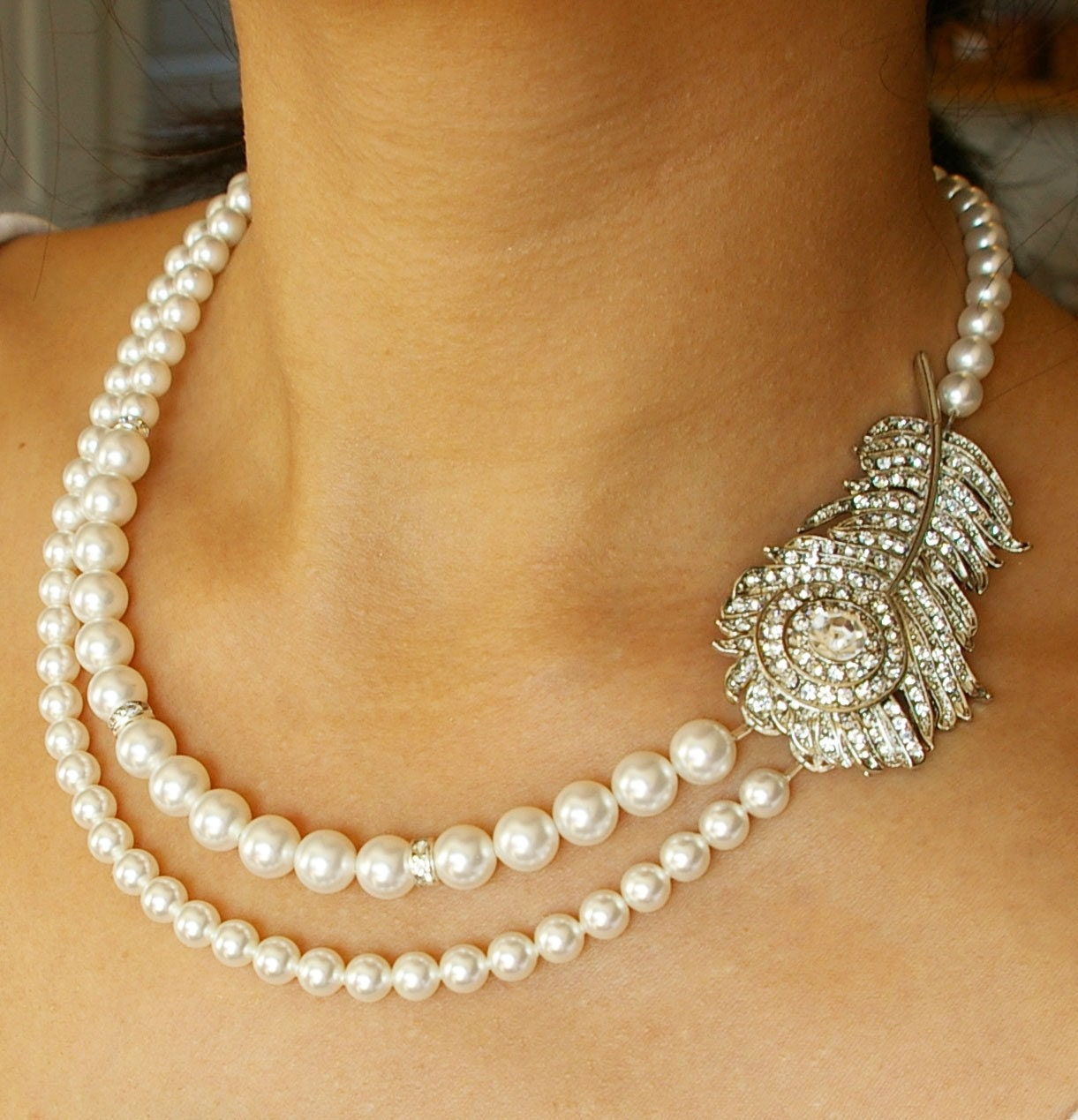 peacock bridal necklace vintage wedding necklace ivory pearl