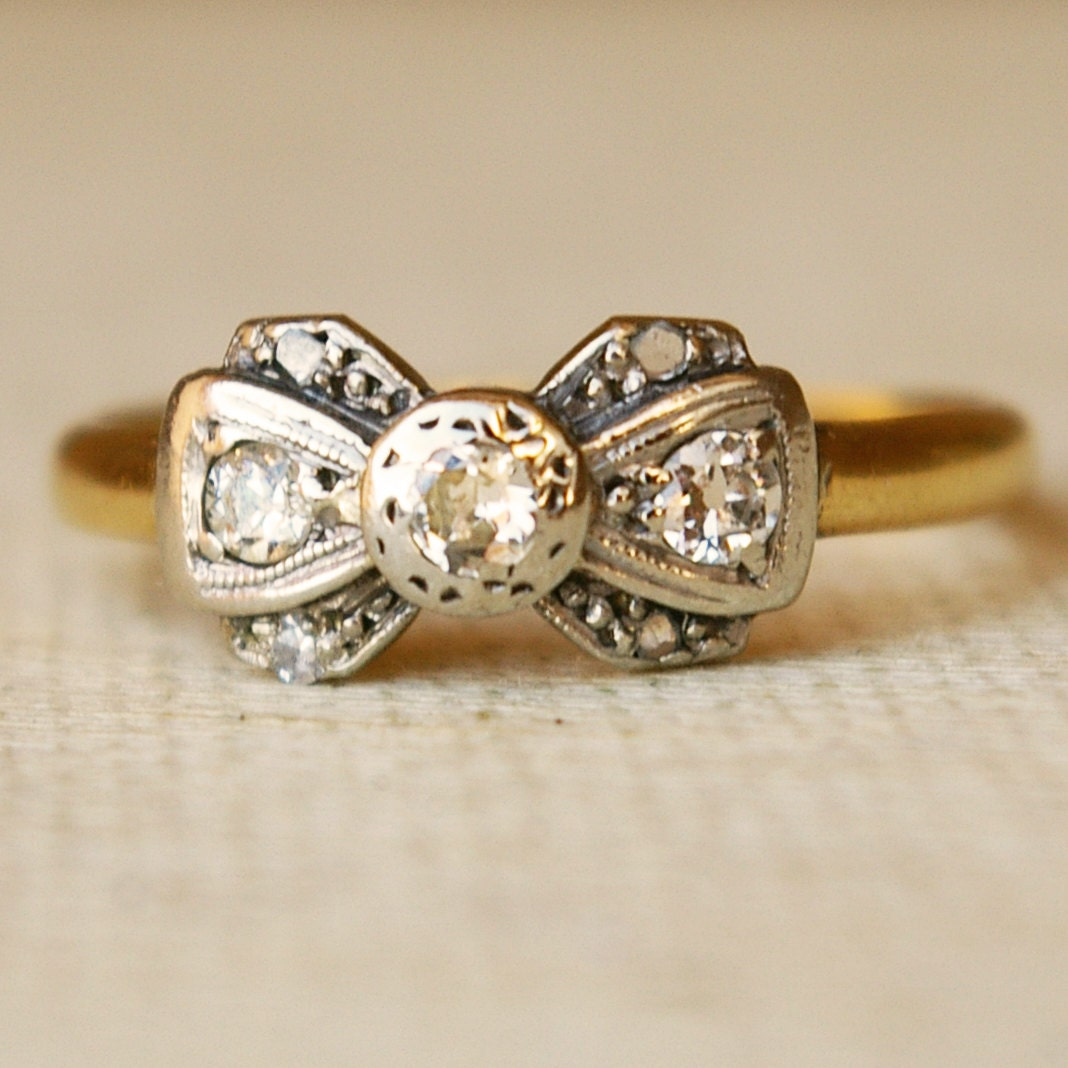 1920 s Platinum Diamond & 18k Gold Ribbon Bow Ring Size