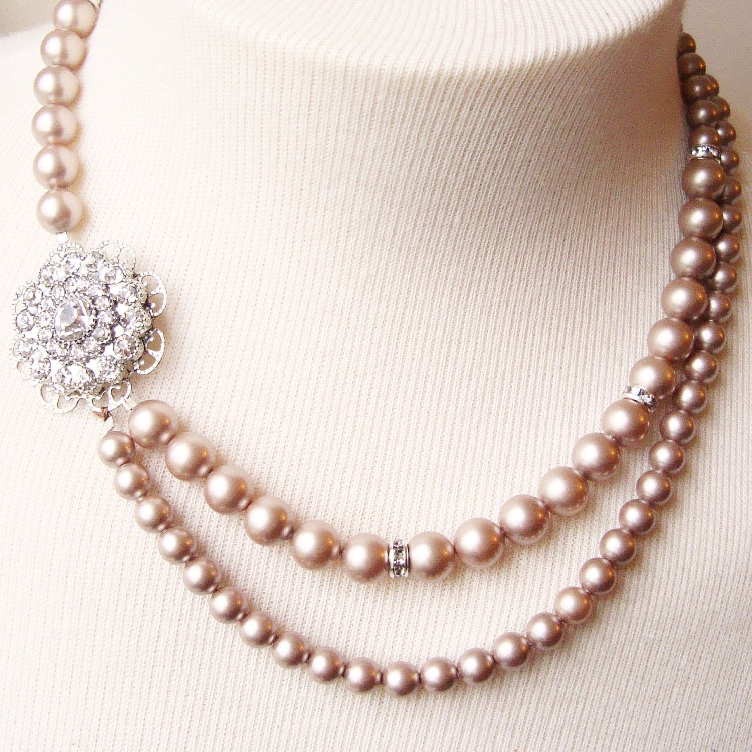 Champagne bridal necklace champagne pearl wedding jewelry for Jewelry for champagne wedding dress