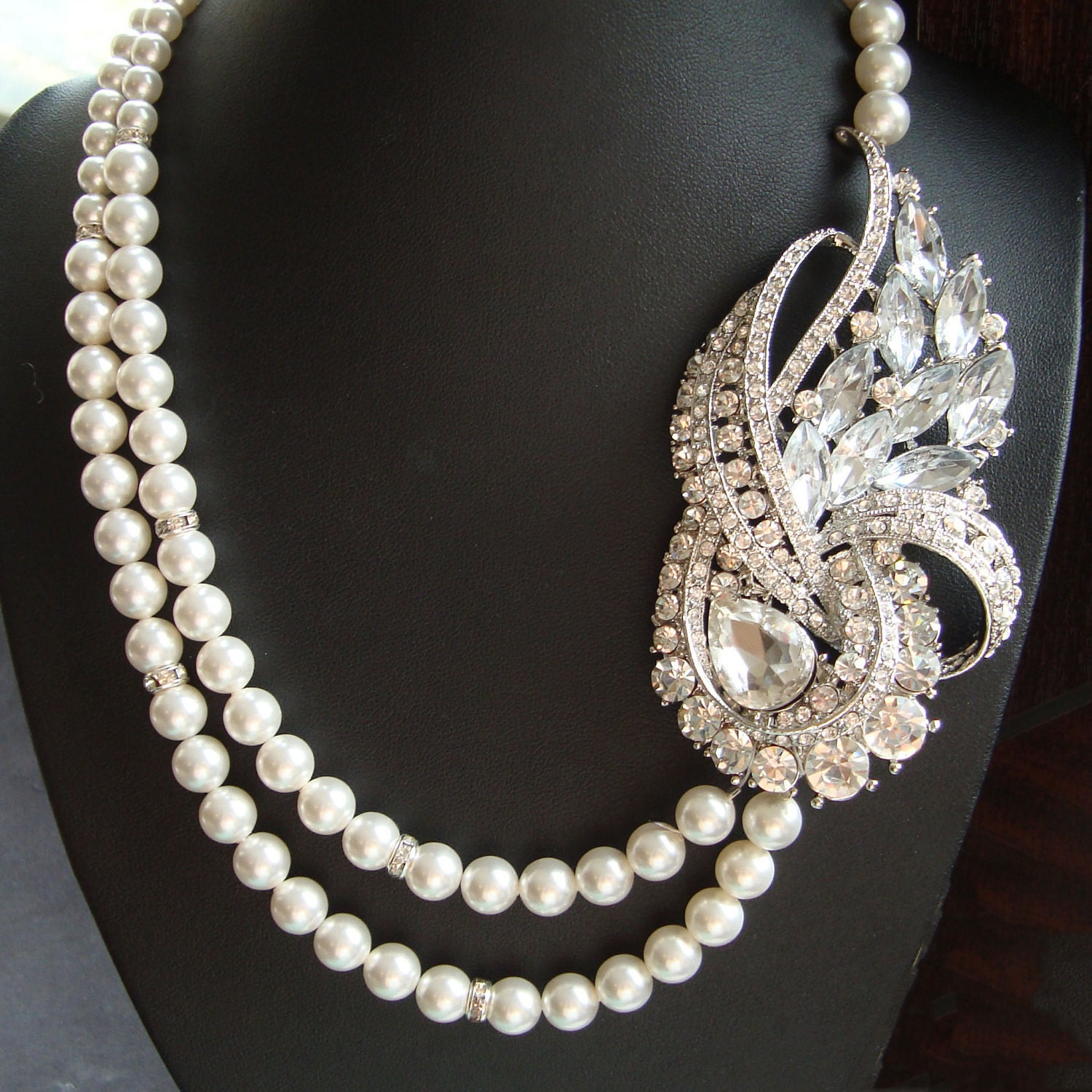 deco wedding necklace statement bridal necklace pearl