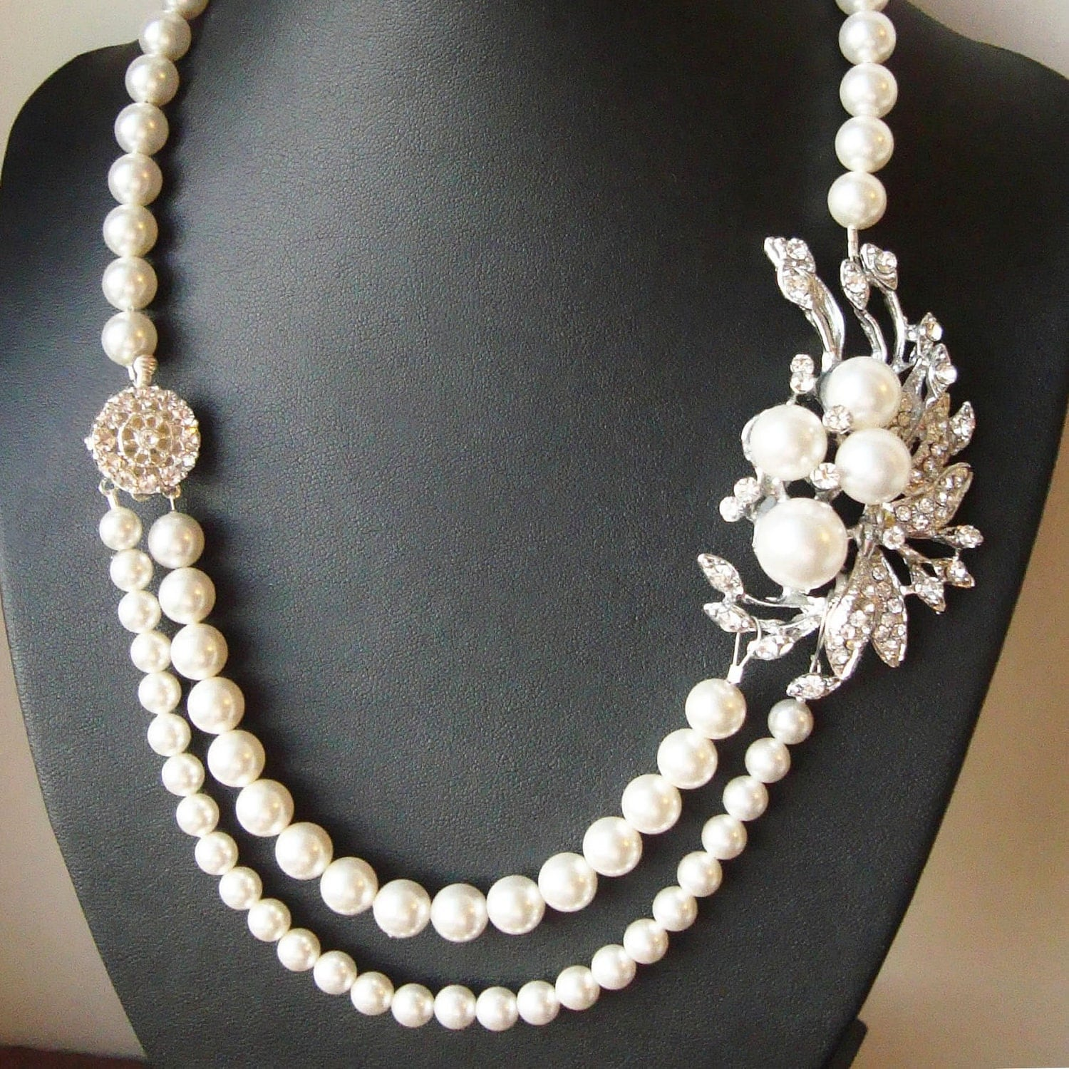 Vintage Pearl Choker Necklace: Vintage Style Bridal Necklace Pearl Bridal Wedding Jewelry