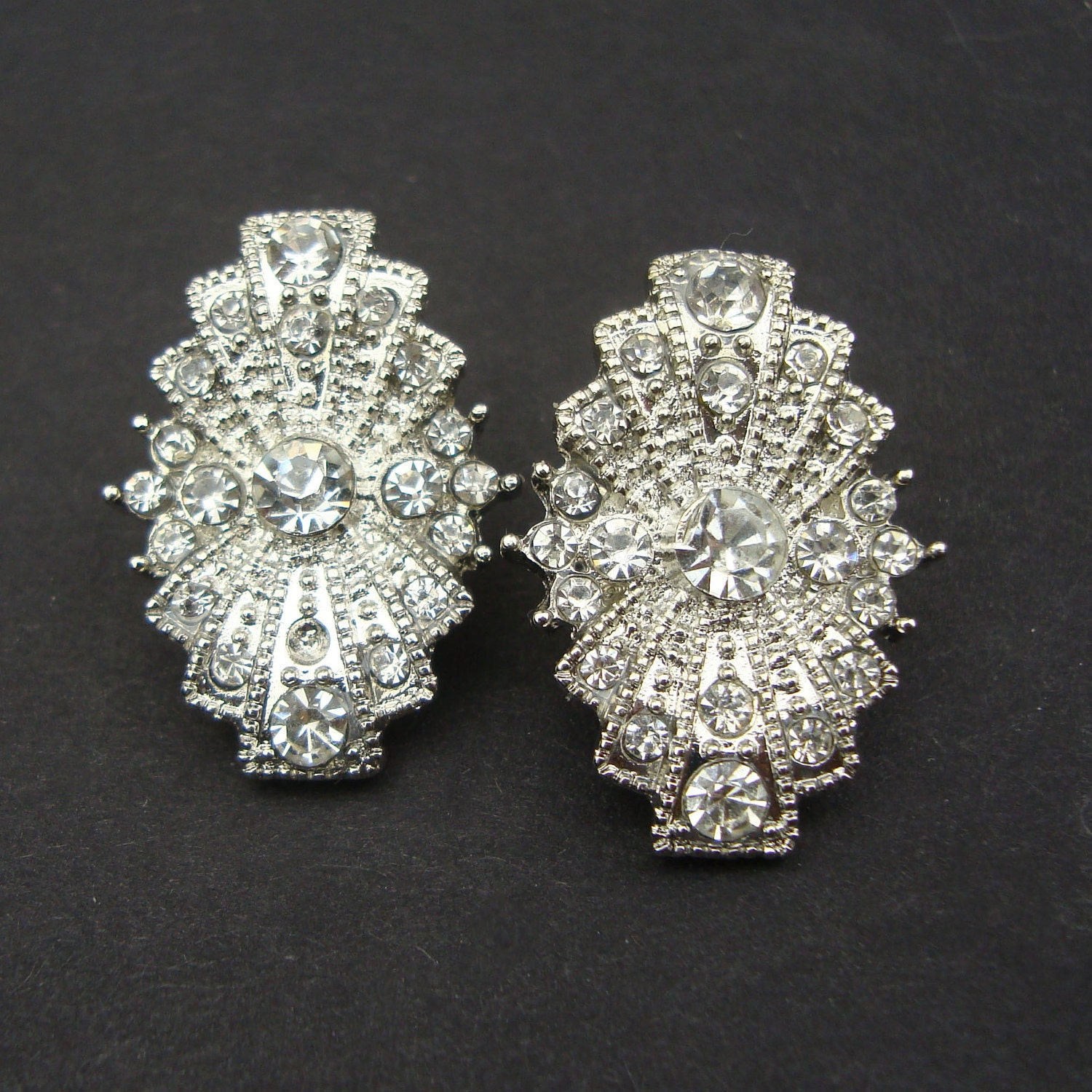 Art Deco Style Bridal Wedding Earrings Vintage Style