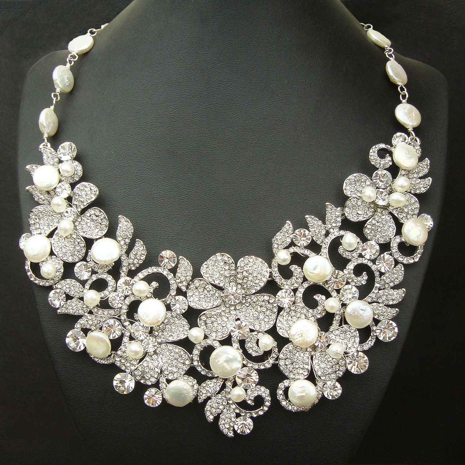 Coin pearl bridal necklace statement wedding necklace for Wedding ring necklace